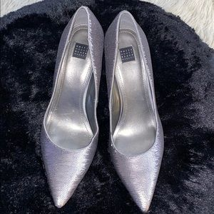 WHBM- gray sequin pumps. Good condition